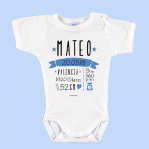 Body Bebé Personalizado Nacimiento Con Todos Los Datos Azul