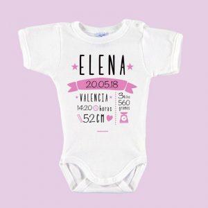 Body Bebé Personalizado Nacimiento Con Todos Los Datos Rosa