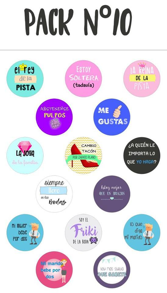 Chapas alfiler pack 10