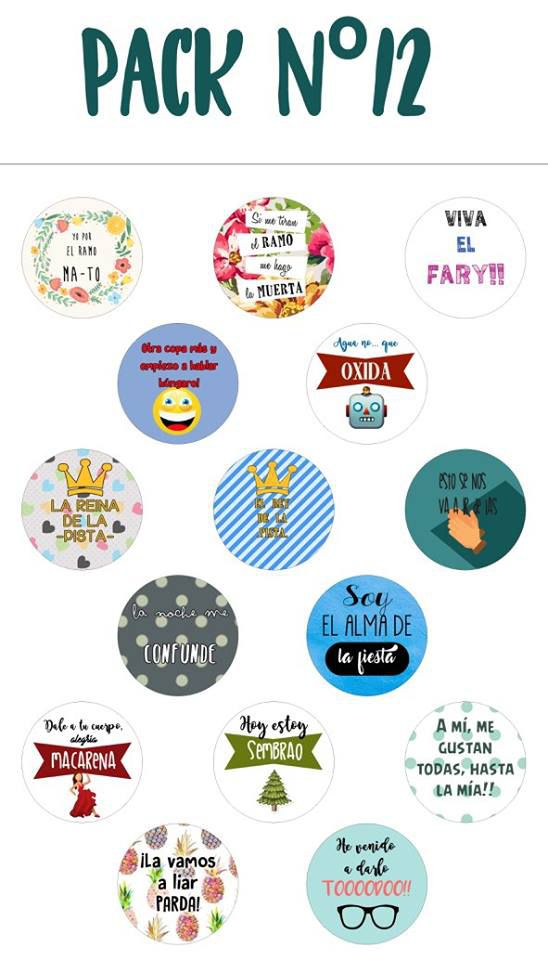 Chapas alfiler pack 12