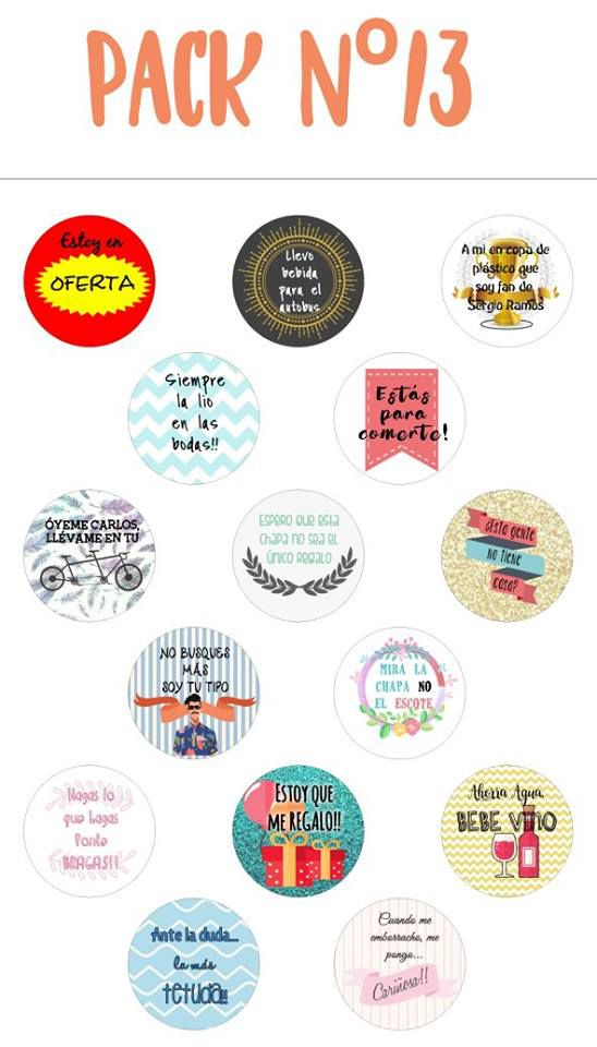 Chapas alfiler pack 13