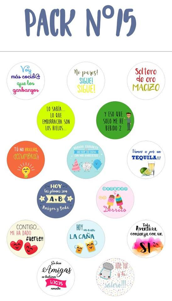 Chapas alfiler pack 15