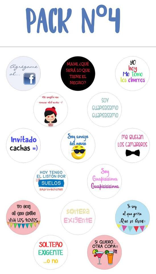 Chapas alfiler pack 4