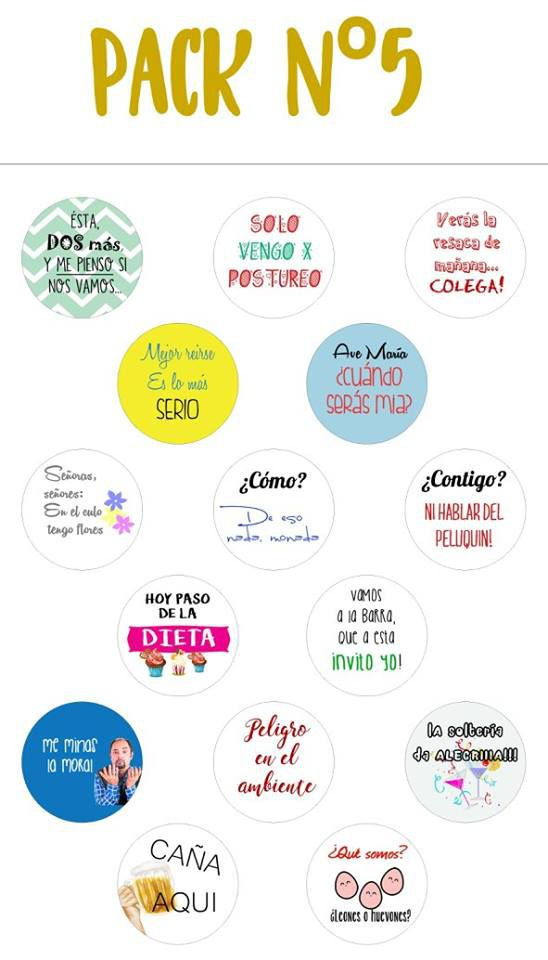 Chapas alfiler pack 5