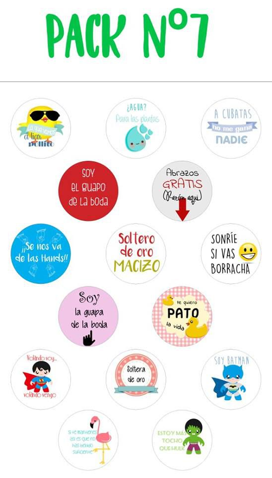 Chapas alfiler pack 7