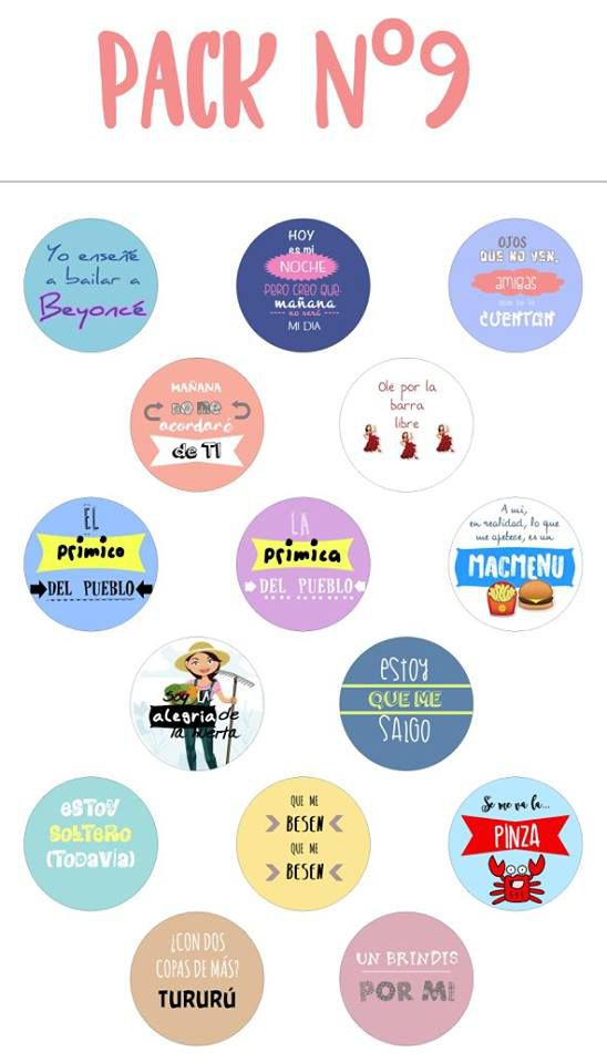 Chapas alfiler pack 9