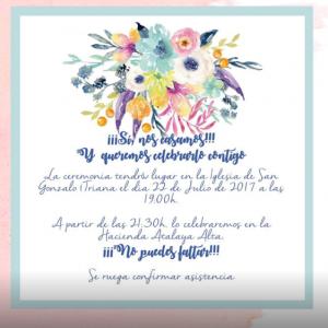 Invitación de boda modelo acuarela