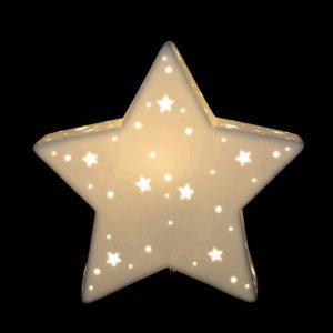 Lámpara porcelana forma estrella
