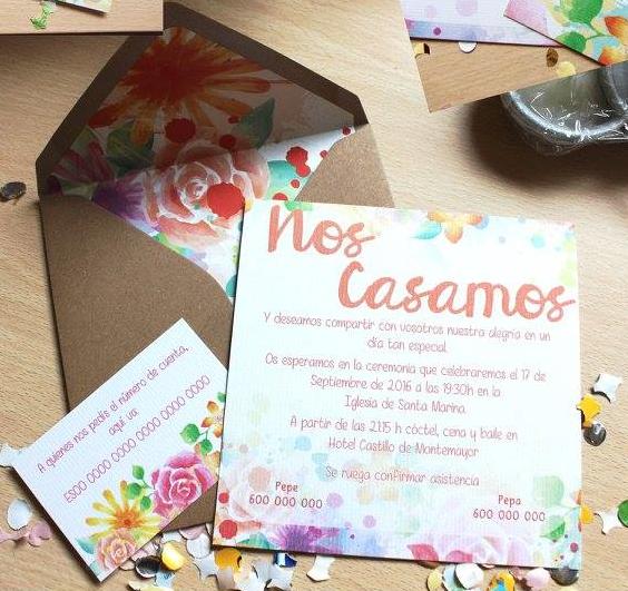 Invitación de boda modelo Alegría