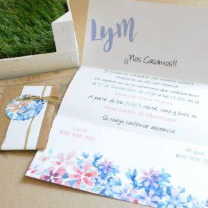 Invitación de boda modelo Blue Floral