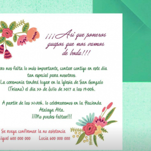 Invitación de boda modelo Colores