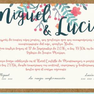 Invitación de boda modelo Delicia