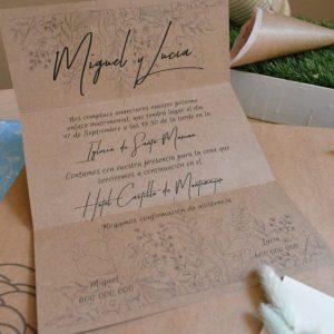 Invitación de boda modelo Kraft Floral