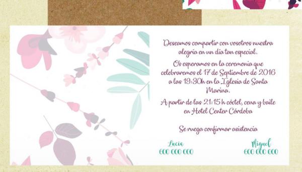 Invitación de boda modelo San Valentín